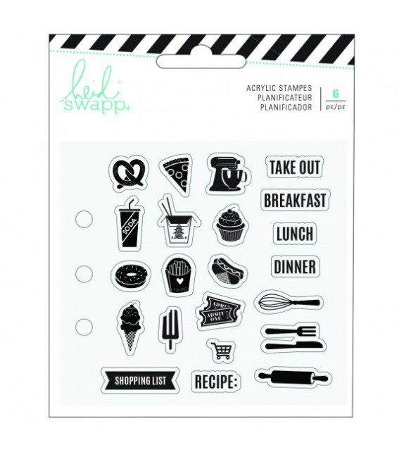 Heidi Swapp memory planner clear stamps x21 food