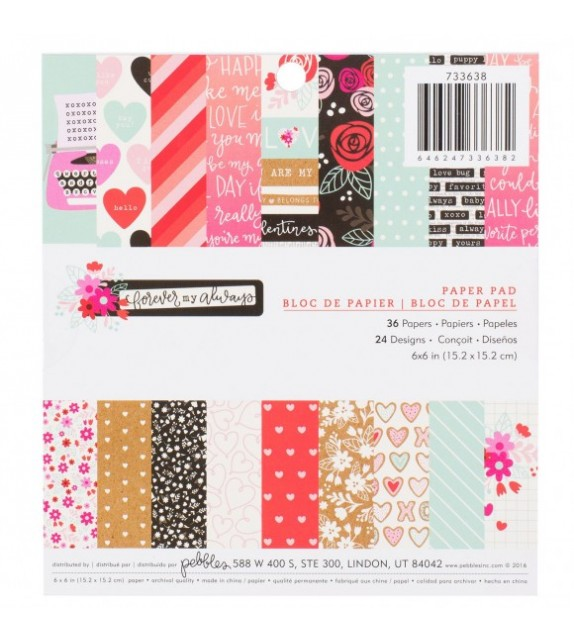 Pebbles forever my always paper pad 15,2x15,2cm x36