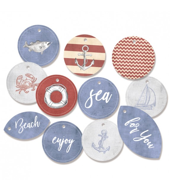 "Decoration Tags ""Off Shore II 01"" by P13, 9pcs"