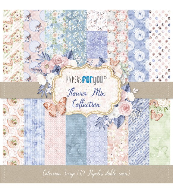 "FLOWER MIX COLECCION 12X12"" - PAPERSFORYOU"