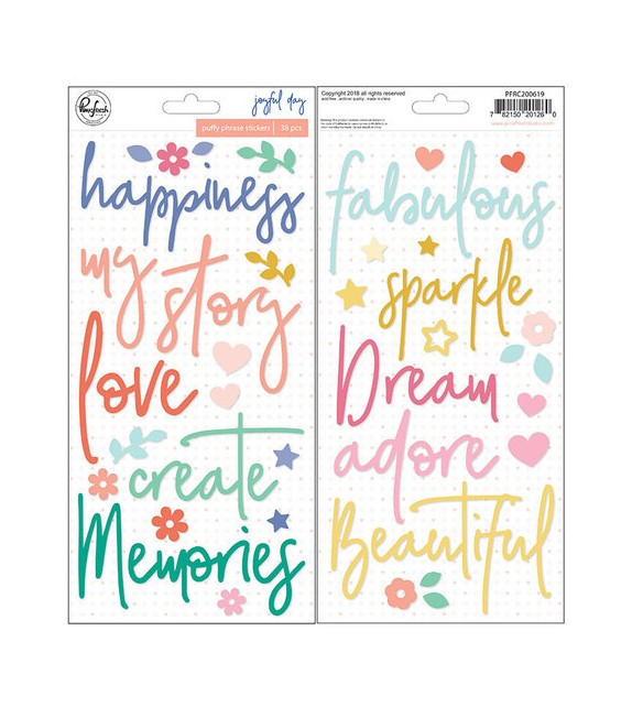 Pinkfresh Studio - Joyful Day Collection - Puffy Stickers - Phrases