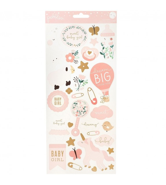 Pebbles Night Night stickers girl gold foil