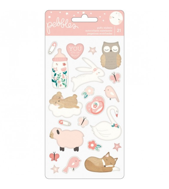 Pebbles Night Night stickers puffy girl x21