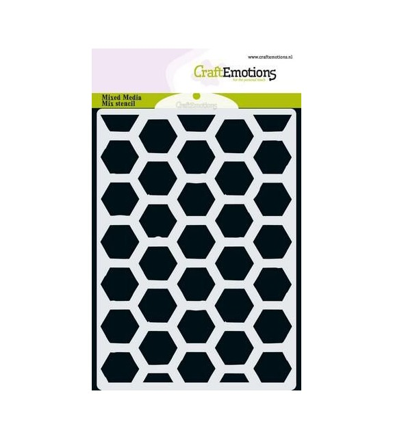 CraftEmotions MM Mix stencil design hexagon A6