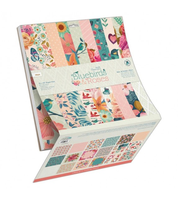 PAPERMANIA Bluebirds & Roses 12x12 Inch Paper Pad