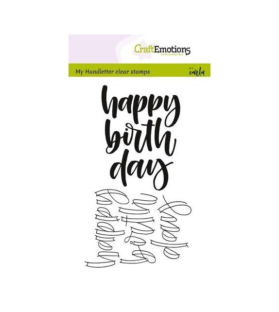 CraftEmotions clearstamps A6 - handletter - happy birth day