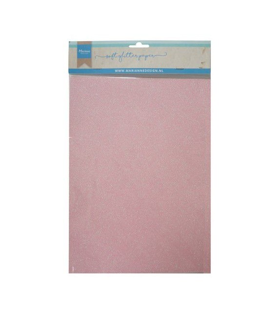 Marianne D Decoration Soft Glitter paper 5sh - Rosa